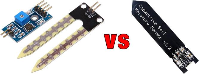 elektrischer vs. kapazitiver Arduino Bodenfeuchtesensor
