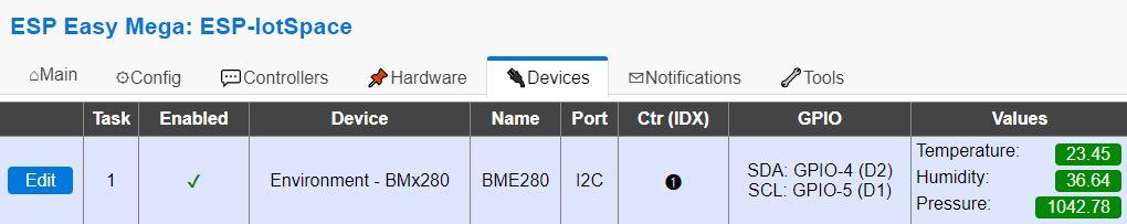 ESPEasy BME280 Sensordaten