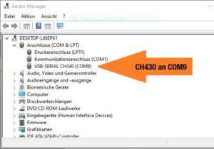 CH430 an COM9 im Windows Geräte-Manager