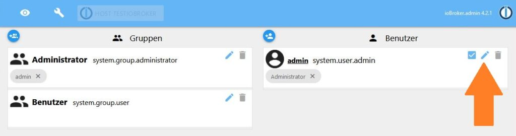 ioBroker Installieren - Kennwort Ändern